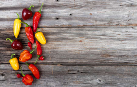 mix pepper variety harvest on a wood table high angle view