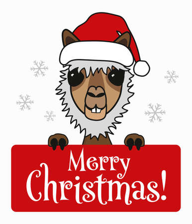 christmas Llama alpaca cartoon character holding merry christmas message