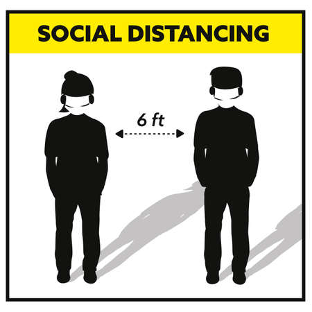 social distancing 6 feet  male and female wearing face mask sign Ilustração