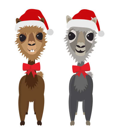 Adorable cute christmas holiday Llama alpaca cartoon character vector illustration Ilustração