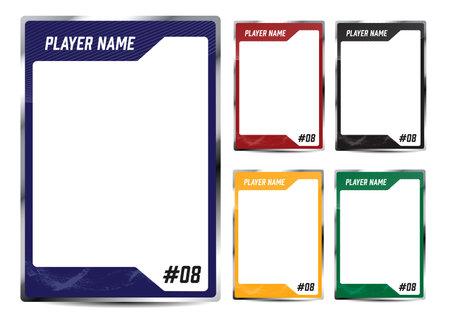 Hockey player trading card frame border template design flyer Vector Illustration