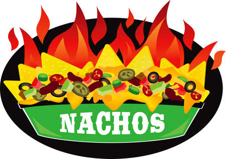 Delicious fire Supreme loaded cheese mexican nachos plate side view illustration vector Vector Illustration
