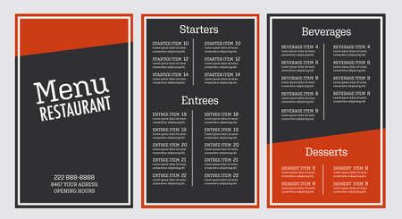 Restaurant menu flyer grey and orange modern design template outlined Font is Aglet