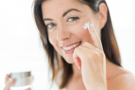 only mid adult women: Beauty portrait of a middle aged brunette woman Stock Photo