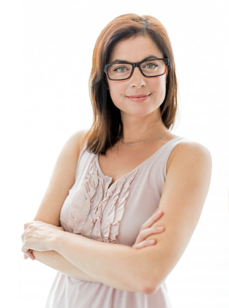 portrait of a casual mature business woman wearing geek glasses