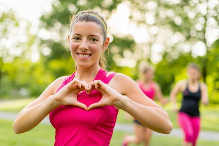 heathy: heathy heart through cardiovascular activity in fresh air Stock Photo