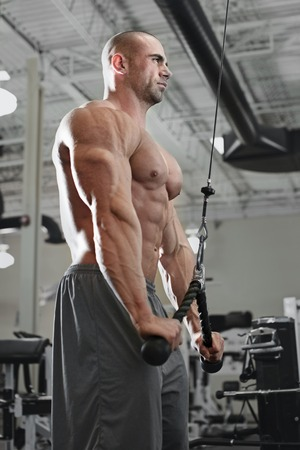 tricep: active and muscular man keeping his arms and back strong and fit by using gym equipment machinnes - filtered image