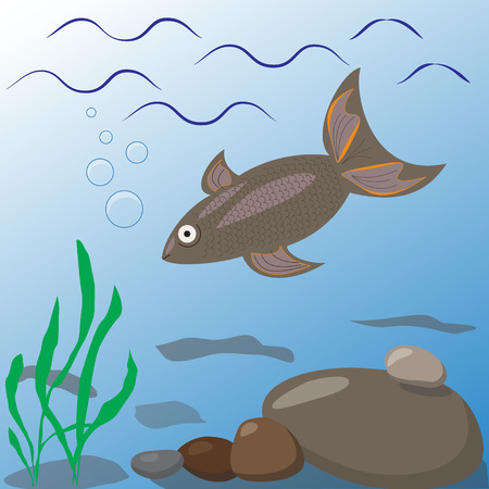 Undersea world. River or lake. Aquatic plants, fish. Vector illustration.