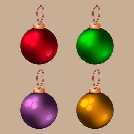 Four beautiful glass Christmas balls Vector illustration