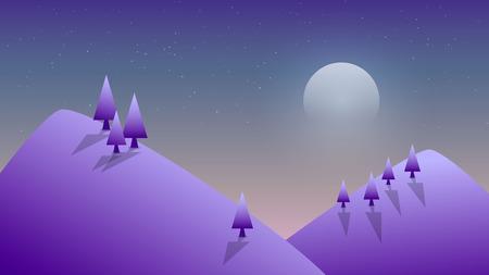 Vector illustration. Winter night in the mountains. Illustration