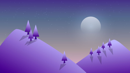 Vector illustration. Winter night in the mountains. Illustration