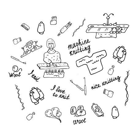 Set of Machine knitting. Black and white drawing.