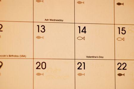 14th: edad antigua calendario muestra el d�a de San Valent�n 14 de febrero Foto de archivo