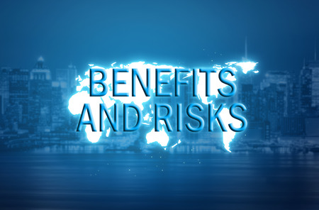 Benefits and risks text over world map hologram and blurred city background