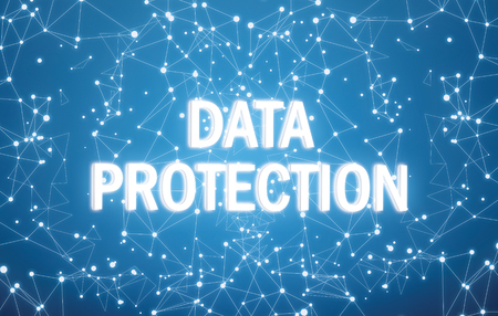 Data protection text on digital interface and blue background