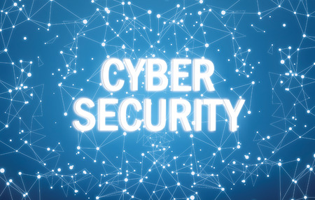 Cyber security interface on blue background Foto de archivo - 116162069