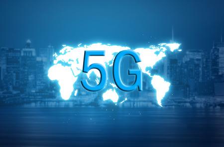 5G and world map hologram over a blurred city background