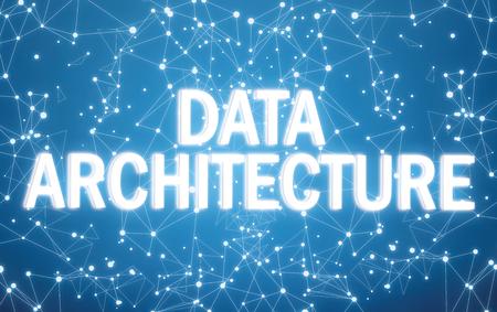 Digital data architecture text on blue network background Foto de archivo - 108960248