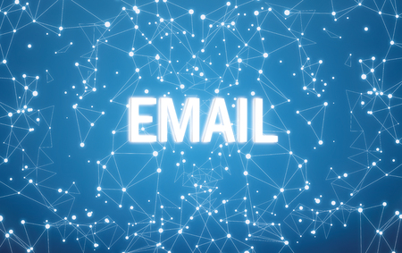 Digital email text on blue network background