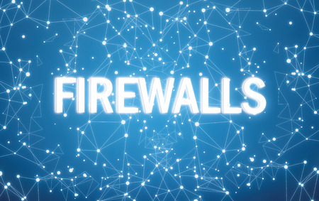 Digital firewalls text on blue network background Banque d'images - 116162614