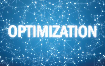 Digital optimization text on blue network background