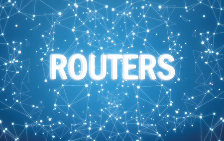 Digital routers text on blue network background Banque d'images - 116162790