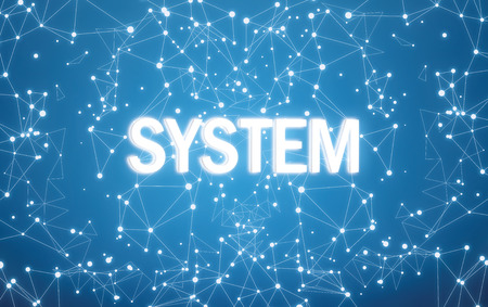 Digital system text on blue network background