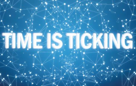 Digital time is ticking text on blue network background Zdjęcie Seryjne