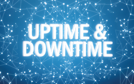Digital uptime and downtime text on blue network background