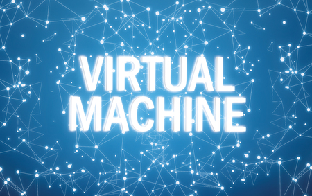 Digital virtual machine text on blue network background Standard-Bild