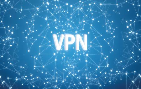 Digital VPN text on blue network background