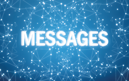 Messages interface on blue network background