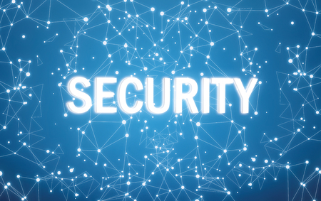 Security text on digital interface and blue network background Foto de archivo - 116163609