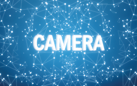 Camera on digital interface and blue network background Banque d'images