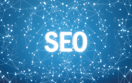 SEO on digital interface and blue network background