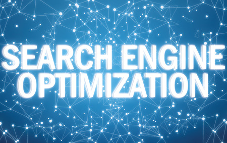 Search engine optimization on digital interface and blue network background Stock Photo