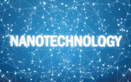 Nanotechnology on digital interface and blue network background