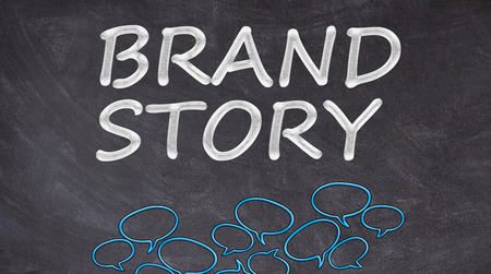 Brand story written on blackboard with bubbles conversation