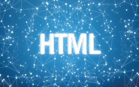 HTML on digital interface and blue network background