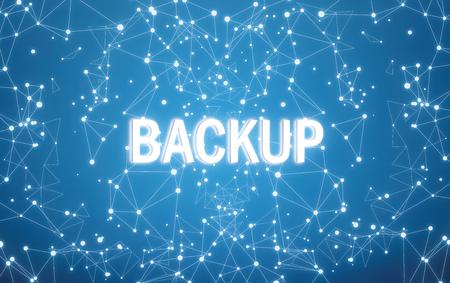 Backup auf digitaler Schnittstelle und blauem Netzwerkhintergrund