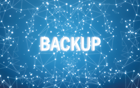 Backup on digital interface and blue network background