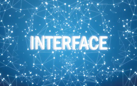 Interface on digital interface and blue network background