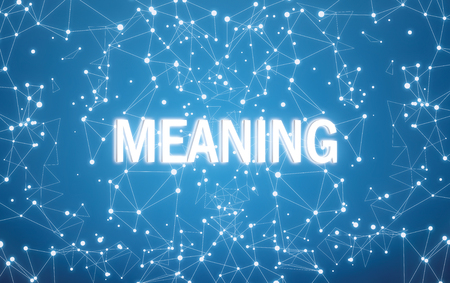 Meaning on digital interface and blue network background Stockfoto
