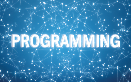 Programming on digital interface and blue network background