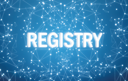 Registry on digital interface and blue network background