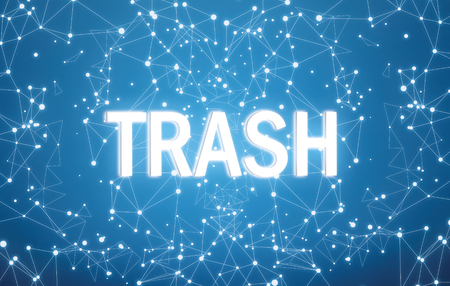 Trash on digital interface and blue network background