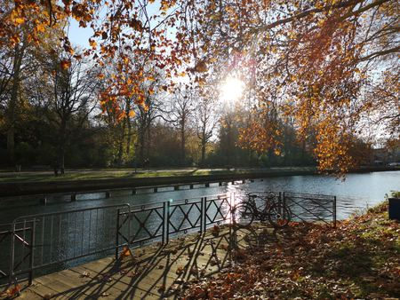River Deule on a spring day in Lille, France Stock Photo