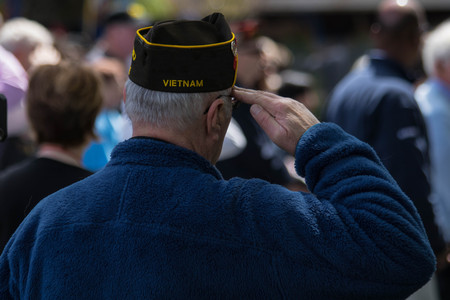 Salute of a Vietnam war veteran Stock Photo