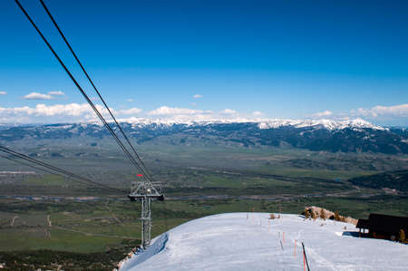 Jackson Hole, Teton Village Resort cable car view from the top. Stock Photo