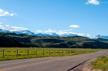 Empty countryside road in Wyoming.